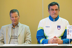 Tone Jagodic of OKS and Ljubomir Milicevic during press conference of Special olympic team of Slovenia before departure to Special Olympics PyeongChang 2013 in South Korea on January 24, 2013 in Hotel Mons, Ljubljana, Slovenia. he next Special Olympics World Games take place in PyeongChang, South Korea, 29 January to 5 February 2013. (Photo by Vid Ponikvar / Sportida.com)