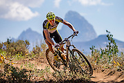 August 6, 2016 - Alta, WY: Jeremia Bishop winning The Pierre's Hole 100 mile mountain bike race at the Grand Targhee Resort.