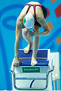 Ashgabat, Turkmenistan - 2017 September 24: Keyik Weliyewa competes in Women's 50m Butterfly Heat 2 Short Course Swimming competition during 2017 Ashgabat 5th Asian Indoor &amp; Martial Arts Games at Aquatics Centre (AQC) at Ashgabat Olympic Complex on September 24, 2017 in Ashgabat, Turkmenistan.<br /> <br /> Photo by &copy; Adam Nurkiewicz / Laurel Photo Services