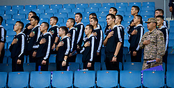 ASTANA, KAZAKHSTAN - Sunday, September 17, 2017: Kazakhstan supporters stand for the national anthem before the FIFA Women's World Cup 2019 Qualifying Round Group 1 match between Kazakhstan and Wales at the Astana Arena. (Pic by David Rawcliffe/Propaganda)
