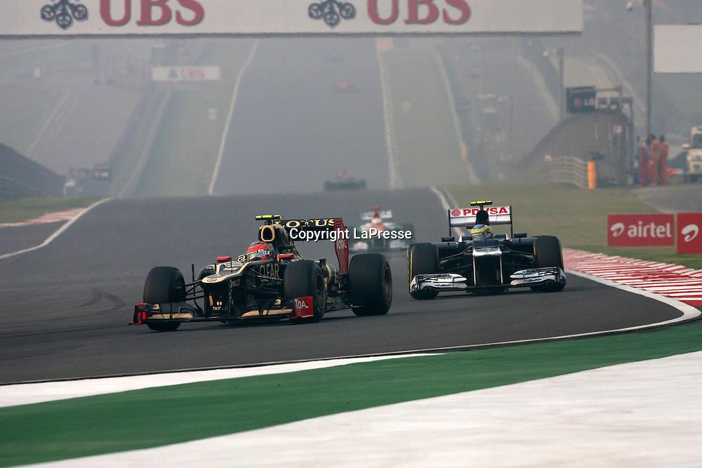 &copy; Photo4 / LaPresse<br /> 28/10/2012 Noida, India<br /> Sport <br /> Indian Grand Prix, Noida 25-28 October 2012<br /> In the pic: Romain Grosjean (SUI) Lotus F1 Team E20 and Bruno Senna (BRA) Williams F1 Team FW34