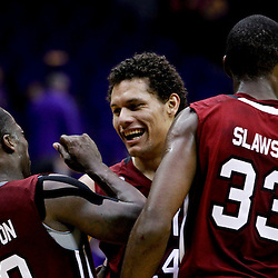Jan 16, 2013; Baton Rouge, LA, USA; South Carolina Gamecocks forward Michael Carrera (center) celebrates with teammates guard Bruce Ellington (23) and forward RJ Slawson (33) during overtime of a game against the LSU Tigers at the Pete Maravich Assembly Center. South Carolina defeated LSU 82-73. Mandatory Credit: Derick E. Hingle-USA TODAY Sports