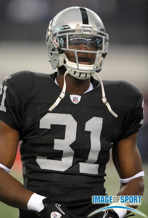 Aug 12, 2010; Arlington, TX, USA; Oakland Raiders safety Hiram Eugene (31) during the preseason game against the Dallas Cowboys at Cowboys Stadium. Photo by Image of Sport