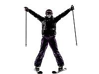 one  woman skier skiing happy joyful in silhouette on white background