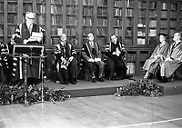 Presdent of Ireland Cearbhall O'Dalaigh and his wife Mairin with Former President Eamon de Valera, Chancellor of UCD, when he was conferred an Honorary Doctorate in Celtic Studies from the National University of Ireland(NUI), 31/01/1975 (Part of the Independent Newspapers Ireland/NLI Collection).