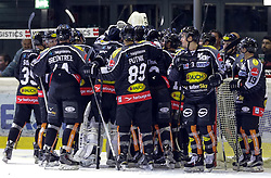 18.09.2015, Messestadion, Dornbirn, AUT, EBEL, Dornbirner Eishockey Club vs EC Red Bull Salzburg, 3. Runde, im Bild Jubel beim Dornbirner Eishockey Club zum 4:3 Sieg ueber EC Red Bull Salzburg // during the Erste Bank Icehockey League 3rd round match between Dornbirner Eishockey Club vs EC Red Bull Salzburg at the Messestadion in Dornbirn, Austria on 2015/09/18. EXPA Pictures © 2015, PhotoCredit: EXPA/ Peter Rinderer