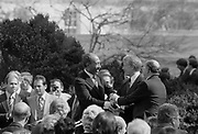 Egypt-Israel peace treaty:   Jimmy Carter, President of the USA,  shaking hands with  Anwar Sadat, President of Egypt, and  Menachem Begin, Prime Minister of Israel, at the signing of the Egyptian-Israeli Peace Treaty in the grounds of the White House, Washington, 26 March 1979. Photographer,  Warren K  Leffler.
