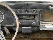 interior of a junked volkswagen