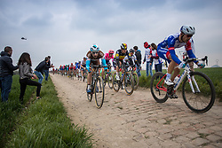 Peloton with Sep Vanmarcke (BEL) of EF Education First (USA,WT,Cannondale) on cobblestone sector 20 during the 2019 Paris-Roubaix (1.UWT) with 257 km racing from Compiègne to Roubaix, France. 14th April 2019. Picture: Thomas van Bracht | Peloton Photos<br /> <br /> All photos usage must carry mandatory copyright credit (Peloton Photos | Thomas van Bracht)