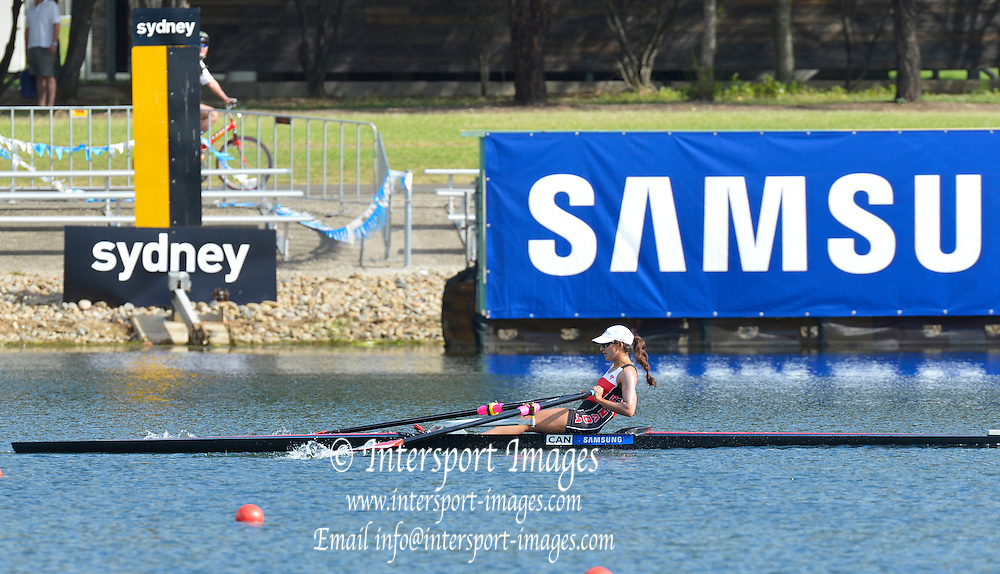 Sydney, Australia.  Gold Medalist CANLW1X, Jaclyn HALCO winning the Women's Lightweight Single Scull, FISA World Cup I. and  Sydney International Rowing Regatta. Sydney International Rowing Centre, Penrith Lakes, NSW.   Saturday   23/03/2013 [Mandatory Credit. Peter Spurrier/Intersport Images]..