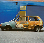 Burnt out car, London, UK, 1990's