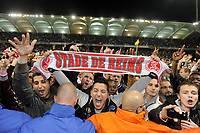 FOOTBALL - FRENCH CHAMPIONSHIP 2011/2012 - STADE DE REIMS v AS MONACO   - 07/05/2015 - PHOTO JEAN MARIE HERVIO / REGAMEDIA / DPPI - CELEBRATION REIMS FANS AT THE END OF THE MATCH AFTER THE VICTORY AND THE ACCESS TO LIGUE 1 FOR NEXT SEASON
