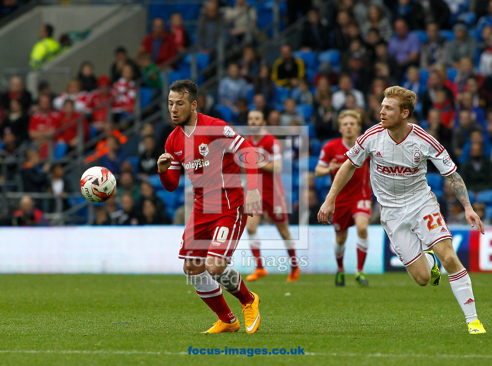 Adam Le Fondre of Cardiff City and Chris Burke of Nottingham Forest during the Sky Bet Championship match at the Cardiff City Stadium, Cardiff<br /> Picture by Mike  Griffiths/Focus Images Ltd +44 7766 223933<br /> 18/10/2014