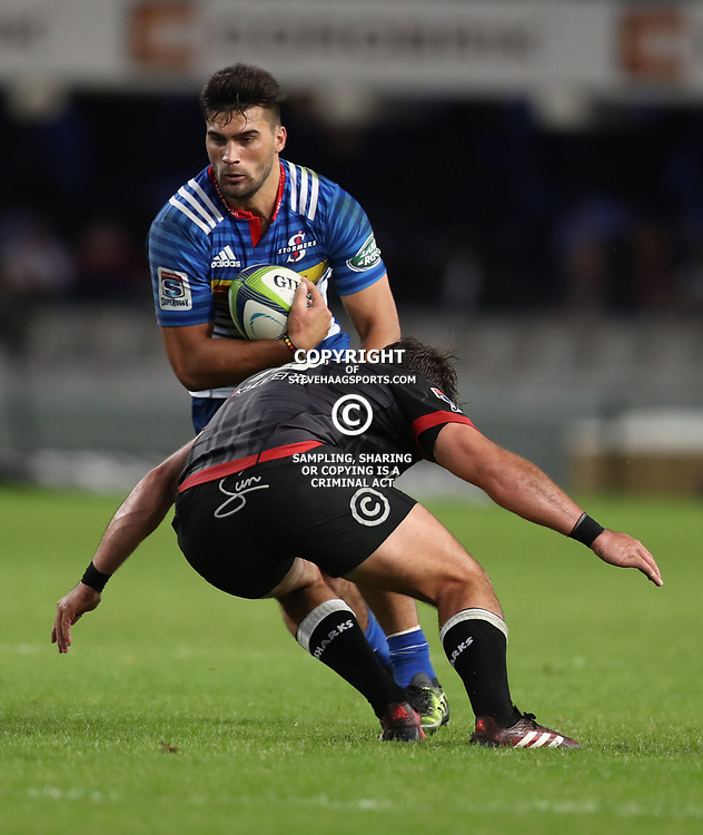 DURBAN, SOUTH AFRICA - MAY 27: Damian de Allende of the DHL Stormers tackled by Franco Marais of the Cell C Sharks during the Super Rugby match between Cell C Sharks and DHL Stormers at Growthpoint Kings Park on May 27, 2017 in Durban, South Africa. (Photo by Steve Haag/Gallo Images)