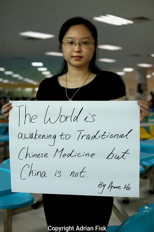 Annie Ho Yinni - 24 Yrs.<br /> Student of business english.<br /> Guangdong Province.<br /> <br /> 'The world is awakening to traditional Chinese medicine but China is not'.