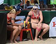 STARE JABLONKI POLAND - July 2:  Barbara Hansel /1/ and Katharina Schutzenhofer /2/ of Austria in action during Day 2 of the FIVB Beach Volleyball World Championships on July 2, 2013 in Stare Jablonki Poland.  (Photo by Piotr Hawalej)