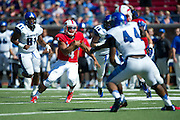 DALLAS, TX - OCTOBER 25:  Matt Davis #4 of the SMU Mustangs scrambles against the Memphis Tigers during the 3rd quarter on October 25, 2014 at Gerald J. Ford Stadium in Dallas, Texas.  (Photo by Cooper Neill/Getty Images) *** Local Caption *** Matt Davis