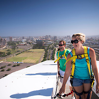 The Adventure Walk at Moses Mabhida Stadium takes visitors up 500 stairs to the 106 meter high viewing platform. (Everyone on the walk has signed a model release.)