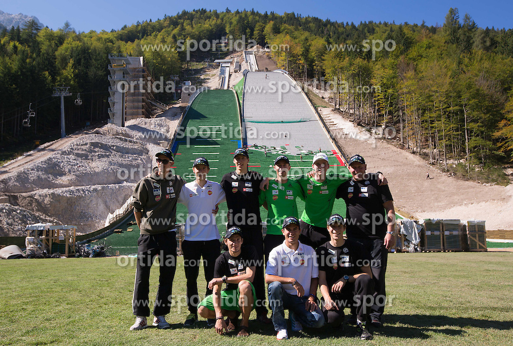 Athletes at media day of Slovenian Ski jumping team during construction of two new 120m and 100m hills in Planica on September 18, 2012 in Planica, Slovenia. (Photo By Vid Ponikvar / Sportida)