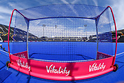 General view of the goal mouth with signage ahead of  the Vitality Hockey Women's World Cup 2018 Semi-Final match between Ireland and Spain at the Lee Valley Hockey and Tennis Centre, QE Olympic Park, United Kingdom on 4 August 2018. Picture by Martin Cole.