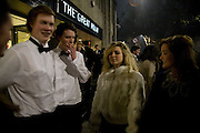 ARCHIE GRAHAM-WATSON; ARCHIE WATSON; BEATRICE MCKECHNIE, Outside The 30th White Knights charity  Ball.  Grosvenor House Hotel. Park Lane. London. 10 January 2009 *** Local Caption *** -DO NOT ARCHIVE-© Copyright Photograph by Dafydd Jones. 248 Clapham Rd. London SW9 0PZ. Tel 0207 820 0771. www.dafjones.com.