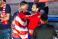 Atletico de Madrid Fernando Torres and Juanfran Torres celebrating Europa League Championship at Neptune Fountain in Madrid, Spain. May 18, 2018. (ALTERPHOTOS/Borja B.Hojas)