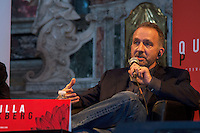 LYON, FRANCE - APRIL 04: American novelist George Pelecanos speaks during the 10th 'Quai du Polar' literary festival on April 4, 2014 in Lyon, France. (Photo by Bruno Vigneron/Getty Images)