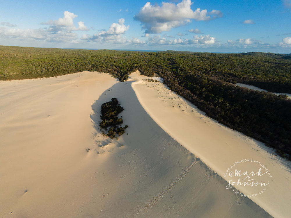 Aerial photograph of sand dunes at The Desert, Tangalooma, Moreton Island, Queensland, Australia