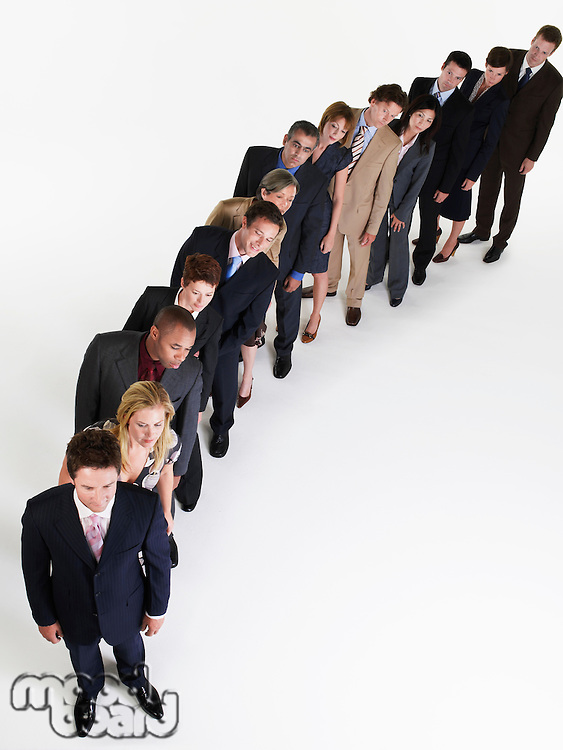 Line of Businesspeople leaning over