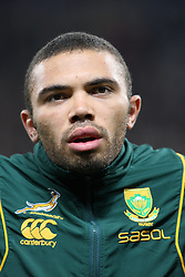 Bryan Habana sings the national anthem before the international match between France and South Africa at Stade Municipal on November 13, 2009 in Toulouse, France.