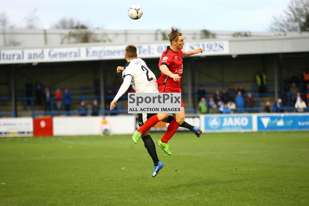Dover's defender Sam Magri (2) and Barrow's forward Jason Walker (9). Dover Athletic v Barrow. Vanarama National League. 10  November 2015. (c) Matt Bristow | SportPix.org.uk