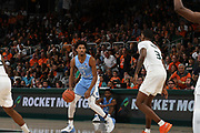 January 19, 2019: Leaky Black #1 of North Carolina in action during the NCAA basketball game between the Miami Hurricanes and the North Carolina Tar Heels in Coral Gables, Florida. The Tar Heels defeated the 'Canes 85-76.