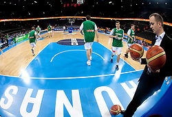 Gasper Potocnik, assistant coach of Slovenia (R) and Players of Slovenia at warming up prior to the basketball game between National basketball teams of Slovenia and Lithuania at of FIBA Europe Eurobasket Lithuania 2011, on September 15, 2011, in Arena Zalgirio, Kaunas, Lithuania.  (Photo by Vid Ponikvar / Sportida)