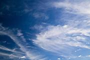 High, windswept clouds on a bright blue Australian sky