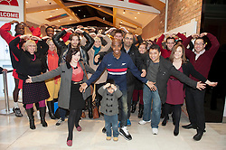 Olympic Gold Medalist Mo Farah opens the refurbished Virgin Media Store in Westfield shopping centre and also launches the single ' Do the Mobot' to raise funds and awareness for The Mo Farah Foundation, London, UK, December 5, 2012. Photo by i-Images.