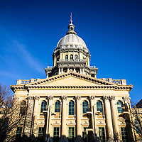 Image of Springfield Illinois State Capitol building. The Illinois State Capitol building is a landmark listed on the U.S. National Register of Historic Places. The State Capitol Building was completed in the late 1800's and is French Renaissance style.