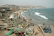 A busy and thriving fishing village along Ghana's Cape Coast. West Africa, Africa.