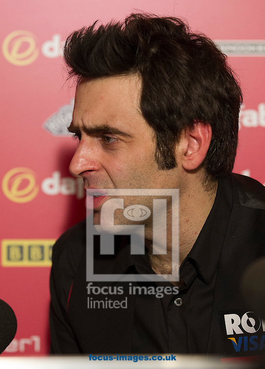 Picture by Paul Terry/Focus Images Ltd +44 7545 642257<br /> 19/01/2014<br /> Ronnie O'Sullivan talks during a press conference after beating Mark Selby 10-4 during The Masters final at Alexandra Palace, London.