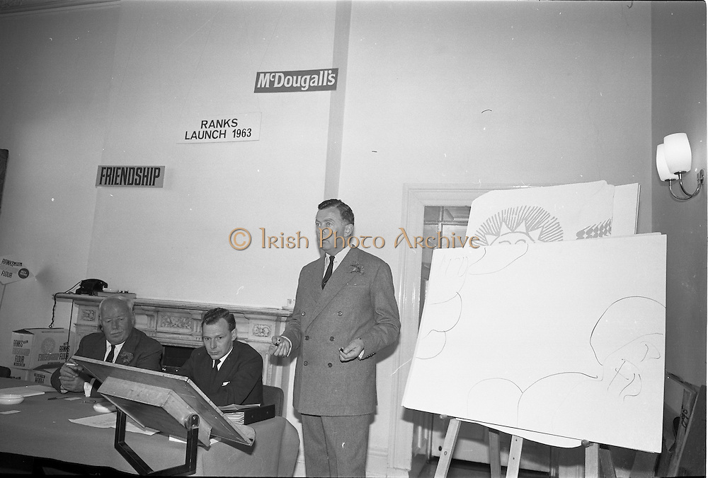 """21/09/1963<br /> 09/21/1963<br /> 21 September 1963<br /> Ranks Ireland (Sales) Limited, Sales Conference and Luncheon at the Shelbourne Hotel, Dublin, to introduce the famous McDougall's Self Raising Flour and to announce a new sales campaign for the company's """"Friendship"""" plain flour."""
