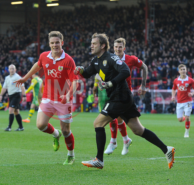 Bristol City's Matt Smith celebrates as Notts County's Roy Carroll protests  - Photo mandatory by-line: Joe Meredith/JMP - Mobile: 07966 386802 - 10/01/2015 - SPORT - football - Bristol - Ashton Gate - Bristol City v Notts County - Sky Bet League One