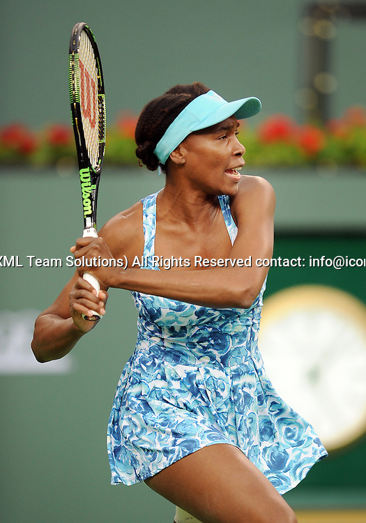 11 March 2016: Playing in her first match in Indian Wells since 2001 Venus Williams (USA) in action during a match against Kurumi Nara (JPN) during the BNP Paribas Open played at the Indian Wells Tennis Garden in Indian Wells, CA. (Photo By John Cordes/Icon Sportswire)