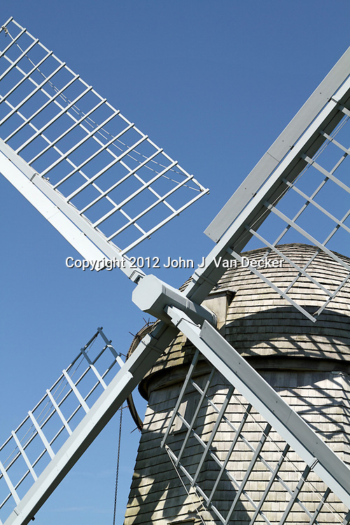 A 1787 recently restored windmill owned by the Jamestown Historical Society, Jamestown, Rhode Island, USA. The windmill was used to mill corn.