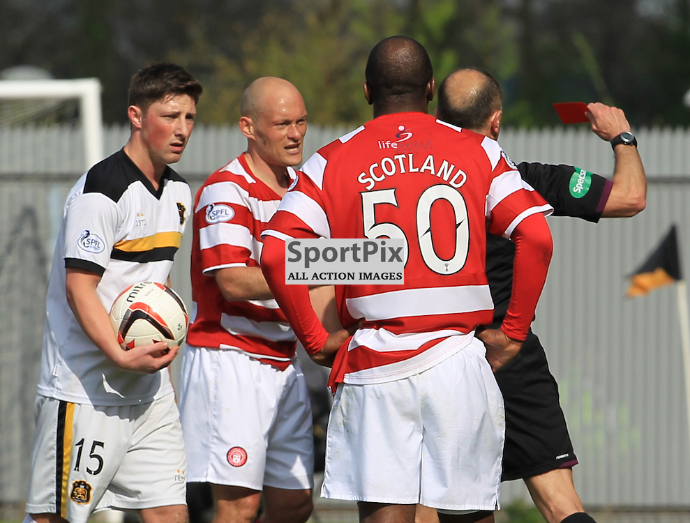 Alex Neil his shown a red card after  clashing with Mark Gilhaney on the touchline during the Dumbarton FC  V Hamilton Academical FC  Scottish Championship  26th April 2014 ©Edward Linton | SportPix.org.uk