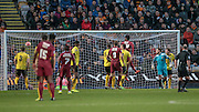 Bradford score a third with seconds to go during the The FA Cup match between Bradford City and Chesham FC at the Coral Windows Stadium, Bradford, England on 6 December 2015. Photo by Mark P Doherty.