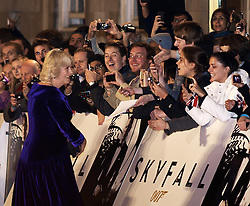 The Duchess of Cornwall (L), is greeted by the crowds as she arrives for the World Premiere of the latest James Bond film  'Skyfall', Royal Albert Hall, London, October 23, 2012. Photo by Max Nash / i-Images.