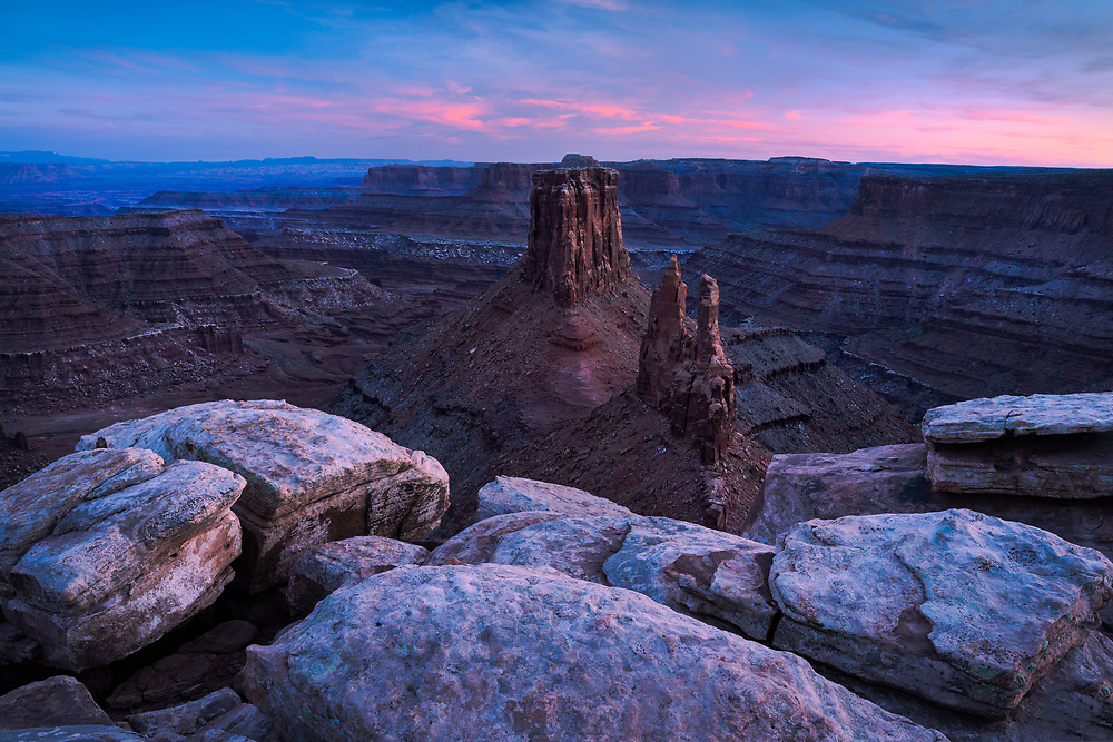 Sunset view from Marlborough Point, Canyonlands National Park, Utah