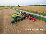 63801-08717 Soybean Harvest, unloading soybeans into grain cart John Deere combine- aerial - Marion Co. IL