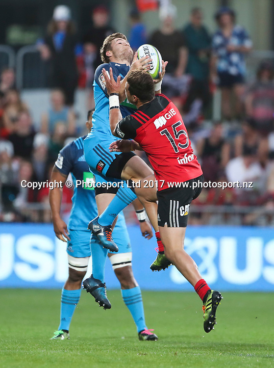 Crusaders David Havili and Blues Michael Collins collide. Super Rugby, Crusaders v Blues, AMI Stadium, Christchurch, New Zealand. Friday, 17 March, 2017. Copyright photo: John Cowpland / www.photosport.nz