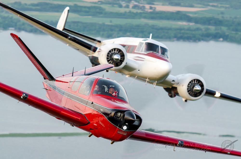 Twin Beech N87711 flown by Rand Siegfried<br /> Beechcraft Bonanza N12711 flown by Judy Oxman