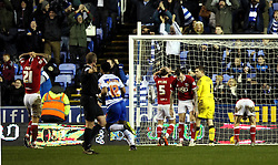 Bristol City players look frustrated after conceding a late Nick Blackman of Reading goal - Mandatory byline: Robbie Stephenson/JMP - 07966 386802 - 02/01/2016 - FOOTBALL - Madejski Stadium - Reading, England - Reading v Bristol City - Sky Bet Championship